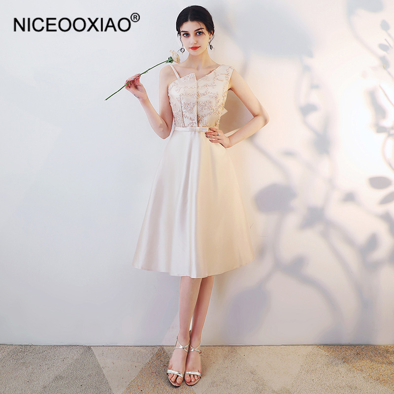 NICEOOXIAO Elegant Chiffon   Bridesmaid     Dress   Slim Temperament Halter Party   Dress   8 Style Pure Color   Bridesmaid     Dress   BNLF611-6