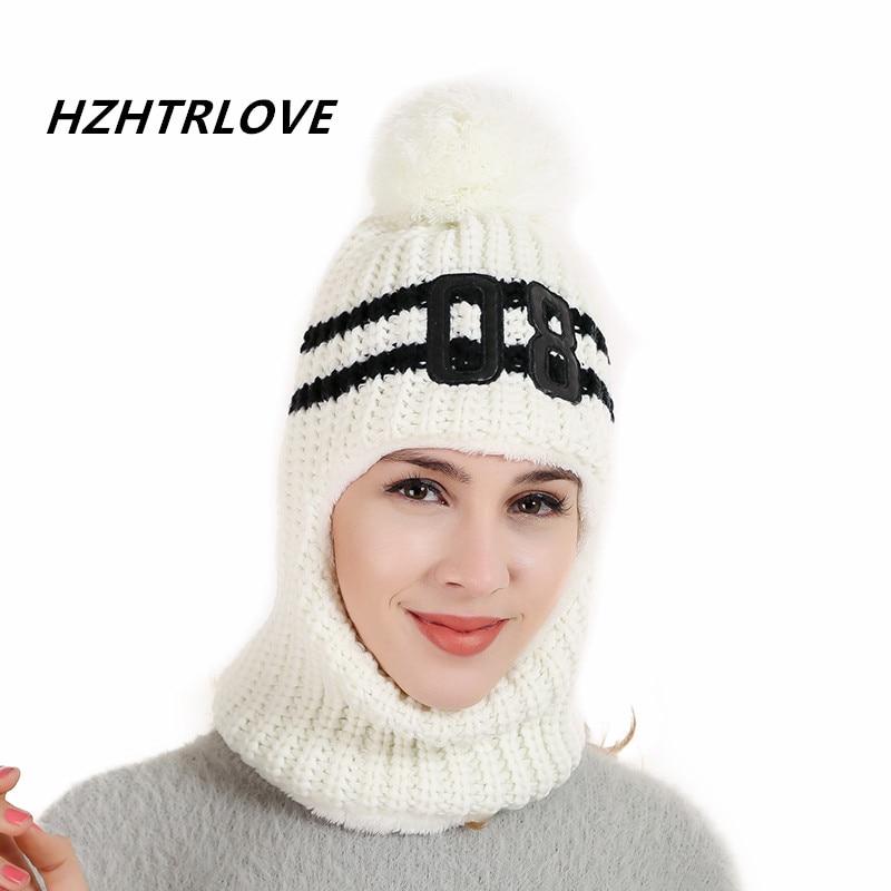 389065eec99c4 High Quality Wool Cotton Beanie Scarf Add Knit Lining Winter Hats Women  Warm Fur Pom Pom