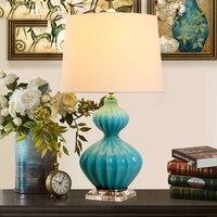 Free Modern Blue Gourd Glass Crystal Table Lamp For Bedroom Abajur Lampe De Chevet De Chambre Lampara Luminaria De Mesa Art Deco