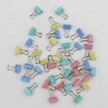 Clipes encadernadores de metal coloridos de 60, pçs/lote e 15mm, clipe de papel, material de papelaria para escritório