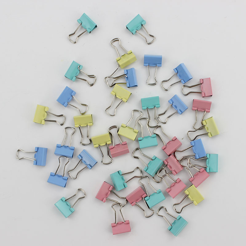 60PCS/lot 15mm Colorful Metal Binder Clips Paper Clip Office Stationery Binding Supplies