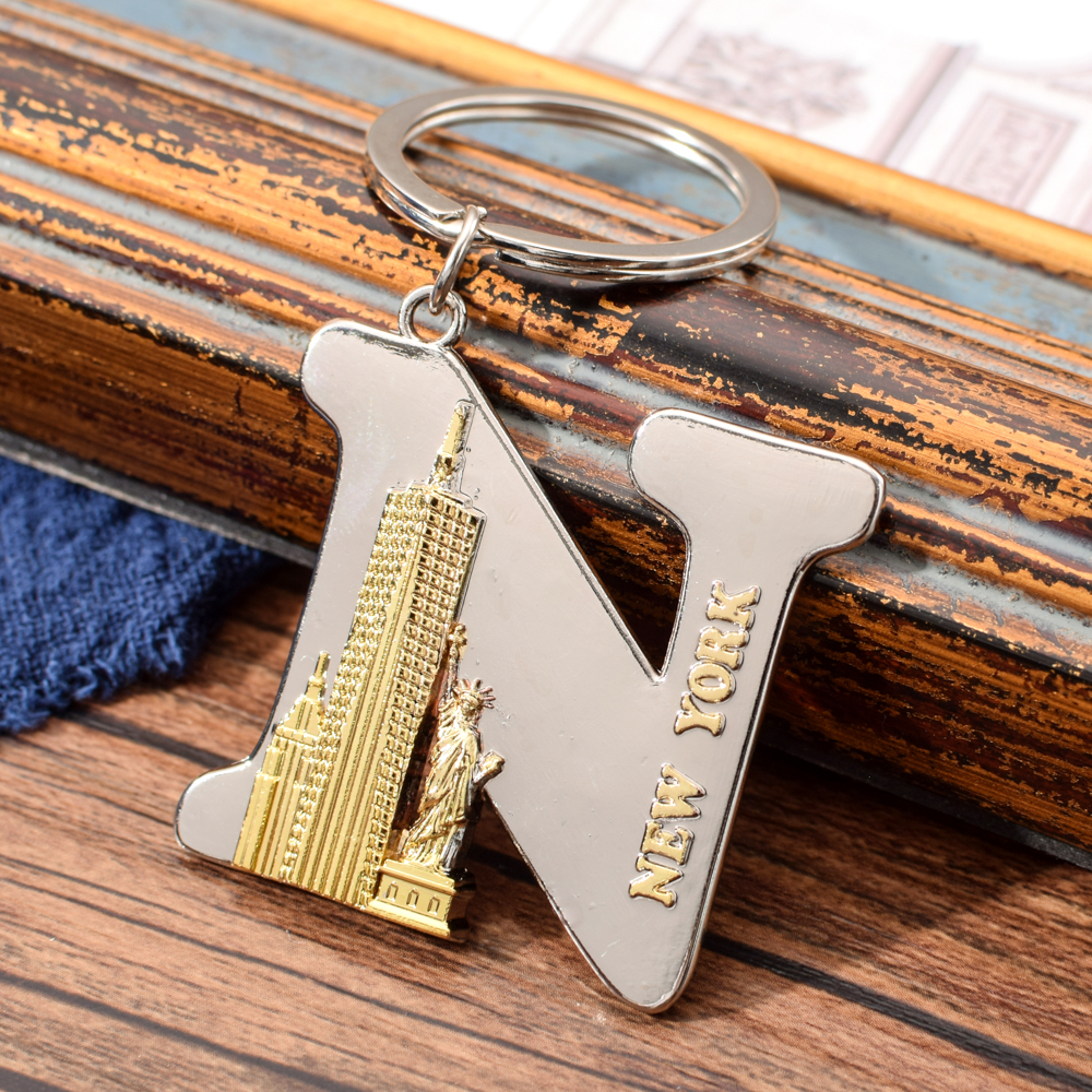 Vicney New Arrival Letter N Keychain New York Key Chain For Men Punk Style US Travel Souvenir For Borfriend Key Ring For Key
