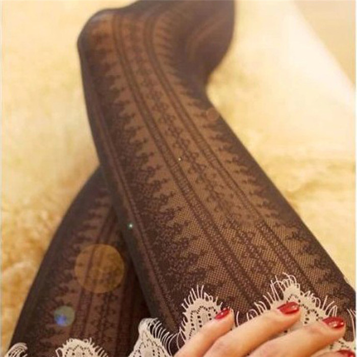 High quality spring and summer vertical stripes jacquard pantyhose black stockings female Girls backing tights pantyhose