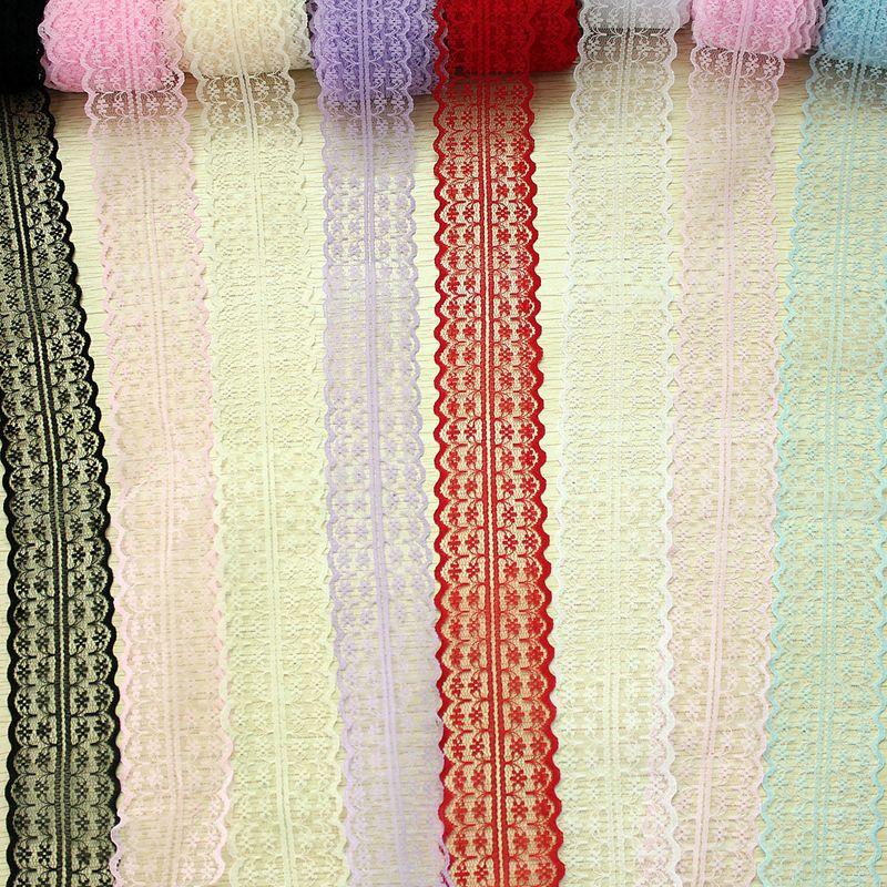 Дешевые Розничная Multi Цвет 5 ярдов/партия Ширина 45 мм с кружевными лентами своими руками, вышитое Тюлевое кружевная бейка Ткань для шитья украшения