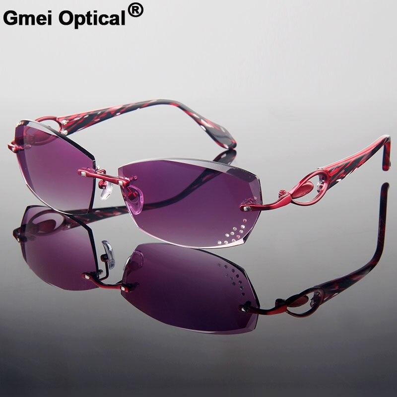 Nouveau style à la mode coupe sans monture Complète lunettes de prescription avec Strass sur les lentilles de femmes/Rouge Cadre