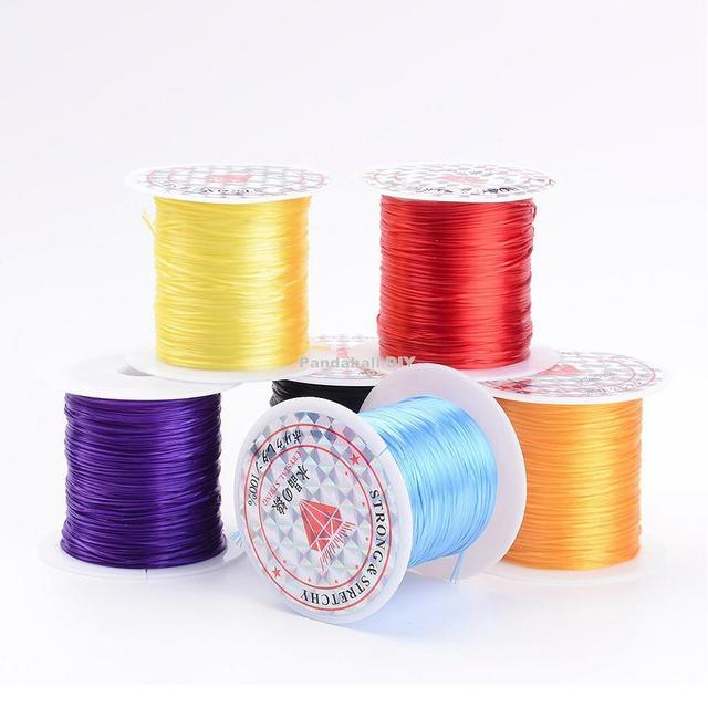 25rolls/bag Elastic Fibre Wire 0.8mm Jewelry Findings Mixed Color ,10m/roll,