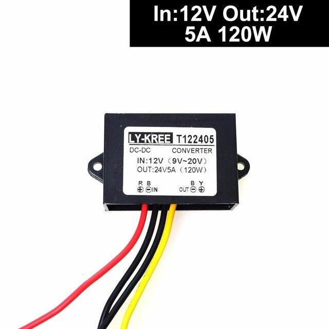 DC 12v to 24v Converter Regulator Step up 5A 120W Power Supply Adapter for Motor Car Truck Vehicle Boat Solar System etc