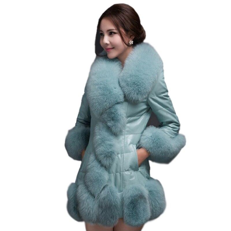 Cuir Fausse Long D'hiver Parkas noir pourpre Mode Ff009 De Qualité Faux En Manteau Mince Fourrure 2019 Suède Luxe Survêtement Femmes Haute Bleu g7FwxAY