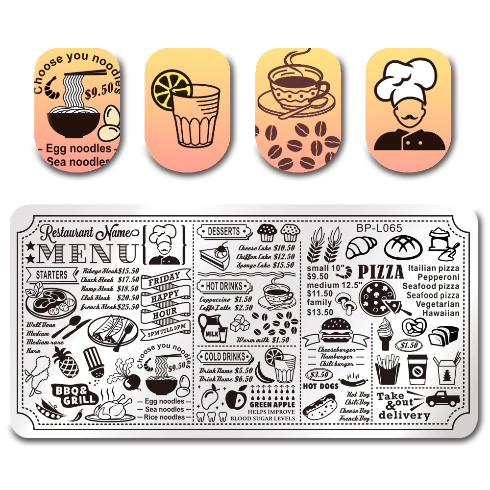 BORN PRETTY Flower Rose Nail Stamping Plate Cute Animal Restaurant Menu Rectangle Template Manicure Nail Art Stamp Image Plate