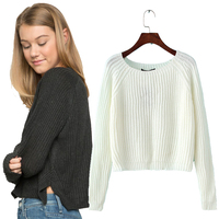 Autumn Winter New 2015 Crop Sweater Casual Sexy Women Sweaters And Pullovers Knitted Jumpers Short Basic