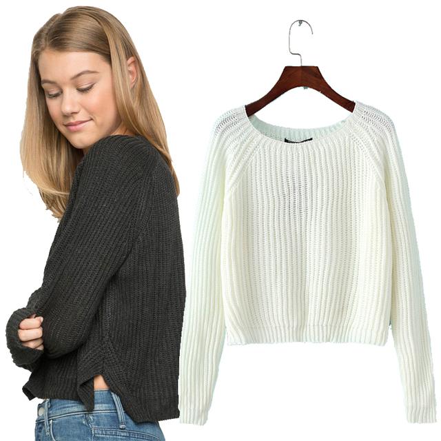 Outono inverno 2017 novo camisola colheita casual sexy mulheres suéteres e pulôveres de malha jumpers curto sólida básica fino puxar femme