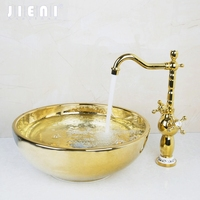 Washbasin Luxury Tempered Glass Hand Painted Waterfall 46029836 Lavatory Bathroom Sink Bath Combine Brass Faucets Mixers
