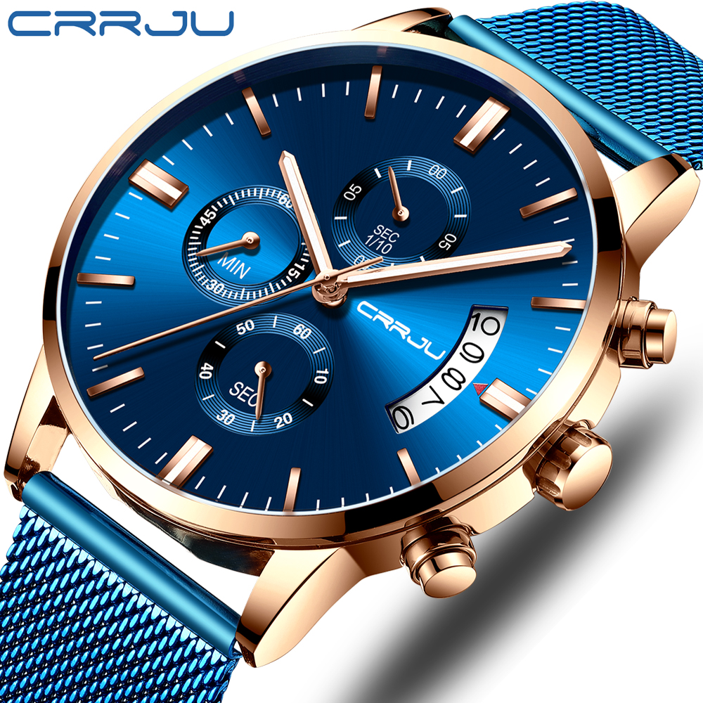 CRRJU Top Brand Blue Casual Mesh Belt Fashion Quartz Gold Watch Mens Watches Luxury Waterproof Clock Relogio Masculino 2019 New