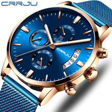 Relogio Masculino ใหม่ CRRJU แฟชั่น Mens นาฬิกาแบรนด์หรูธุรกิจสีฟ้าควอตซ์นาฬิกา Mens Casual Cool นาฬิกา