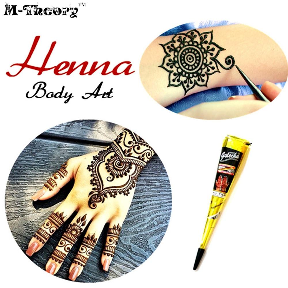 M-theory Mehndi Henna Body Paint 25g Waterproof Indian Temporary Tattoos Arts Flash Tatoos Bikini Swimsuit Makeup Tools