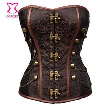 Vintage Brown Brocade Chain Steampunk Corset Burlesque Costumes Waist Trainer Steel Boned Corsets and Bustiers Gothic
