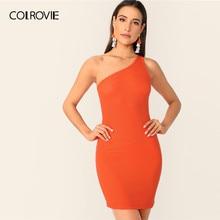 72d40d2f98 COLROVIE de neón sólido naranja costilla de hombro-punto Bodycon vestido de  las mujeres 2019 Sexy de verano Fiesta Club Slim Muj.