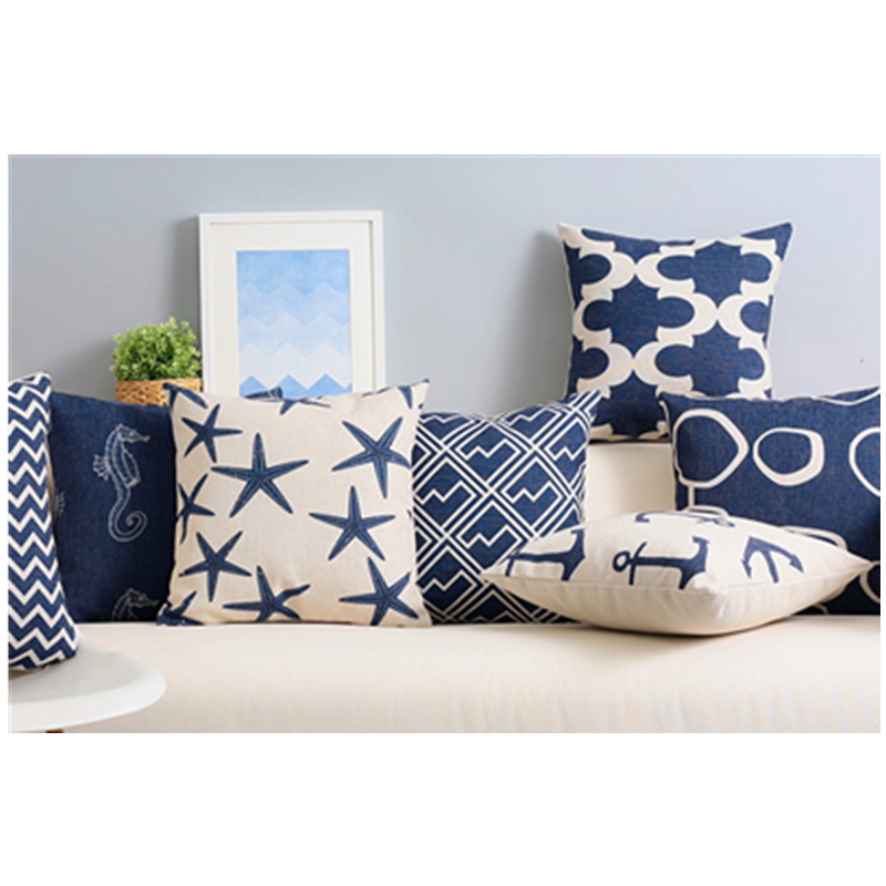 Modern Navy Blue Seat Cushions Kitchen Chairs Decorative Living Room Pillow For Sofa Coussin Emoji Cojines Decorativos Para Sof in Cushion from Home Garden