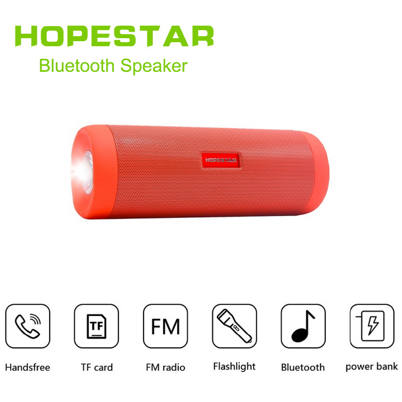 HOPESTAR Waterproof Bluetooth Speaker Outdoors Wireless Subwoofer Soundbar Flashlight Speakers With Power Bank Boombox Kaiutin