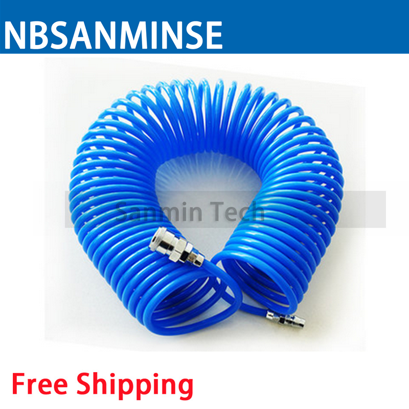 Air Compressor Hose Tube 6M / 9M / 12M Length PU Polyurethane PU Air Compressor Hose Tube Compressor Air Tube PU Recoil Sanmin ...