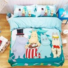 Cubierta del edredón del duvet edredón de dibujos animados moomin occidental verde juegos de cama de algodón reina rey doble dormitorio decoración fundas de almohadas