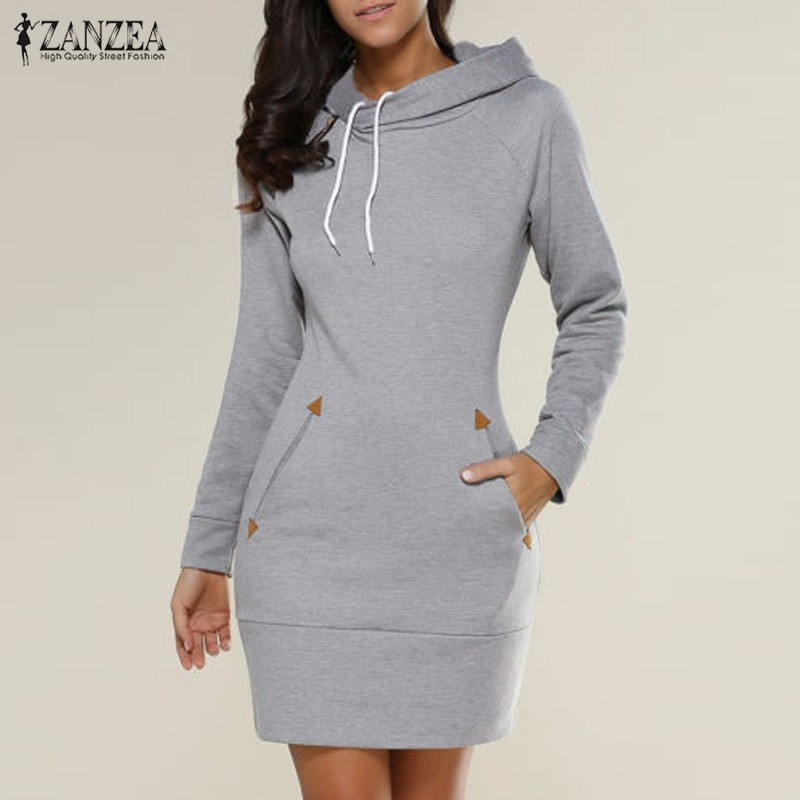 a31211c28e3 Vestidos 2018 Spring ZANZEA Women Oversized Casual Straight Solid Dress  Ladies Long Sleeve Hooded Pockets Mini