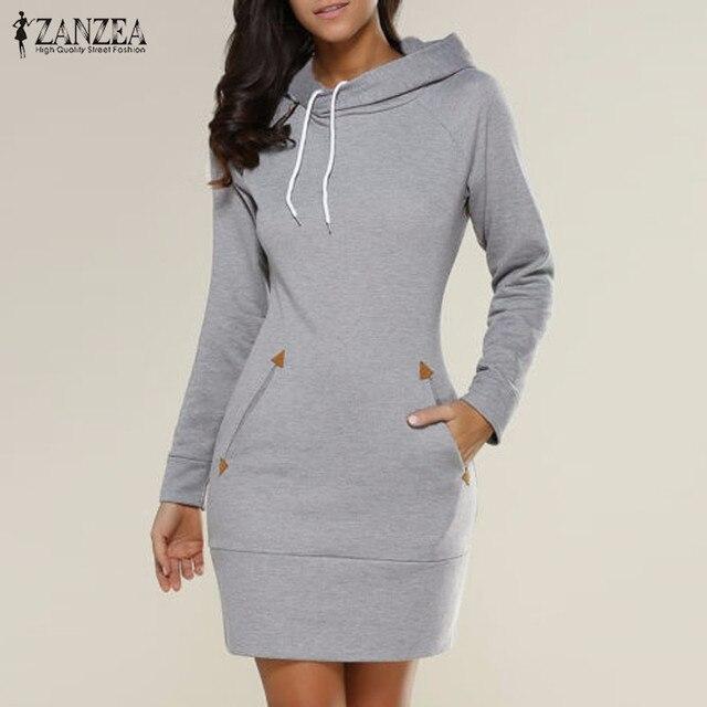 Robes 2017 Printemps ZANZEA Femmes Surdimensionné Casual Droite Solide Robe Dames À Manches Longues À Capuche Poches Mini Robes Plus La Taille