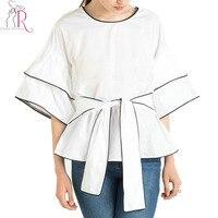 White Butterfly Half Sleeve Tie Waist Blouse Women Autumn Drop Shoulder Round Neck Patchworked Black Hem
