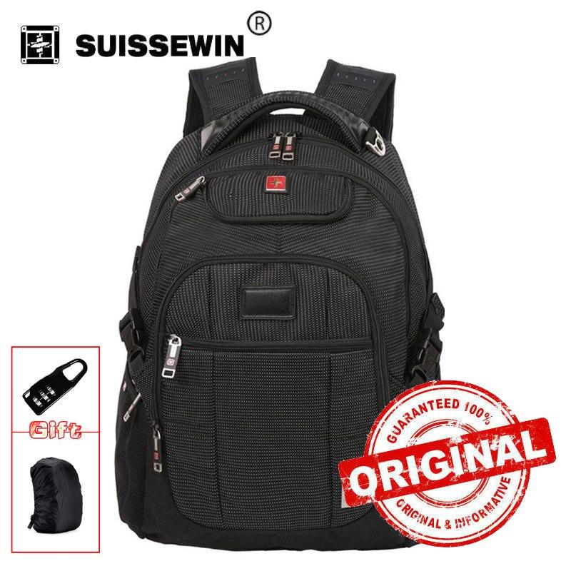 Swisswin business laptop backpack soft nylon school men travel swiss gear back bag male zipper outdoors computer bags sw9221