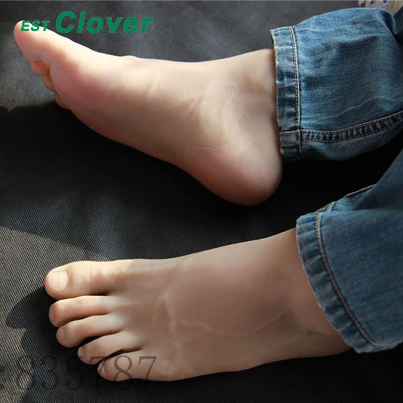 Size 44#, Height 19cm Male Silicone Fake Foot,Inner-Bone Inside,Toe Move Freely,Feet Model,Shoe Model F-501 28cm 36 male boys silicone fake foot inner bone inside toe move freely feet model shoe model f 505 page 3