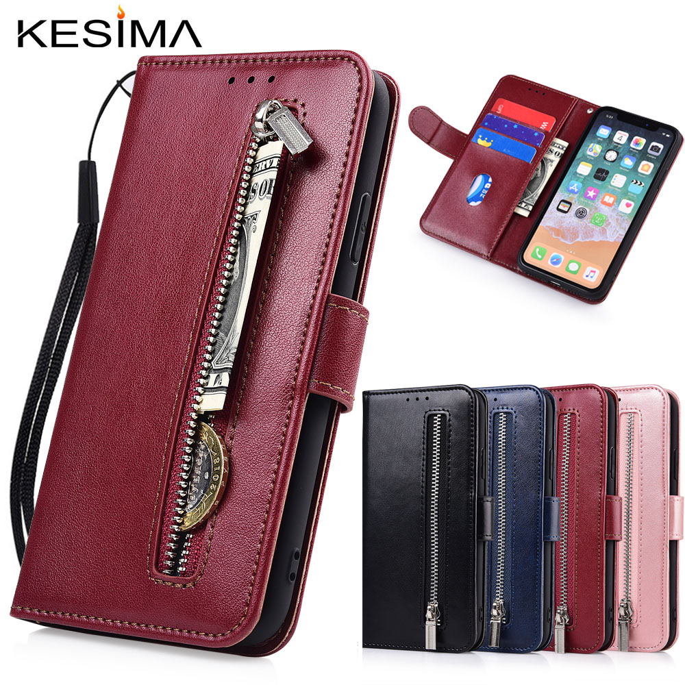 Zipper <font><b>Flip</b></font> Wallet Leather <font><b>Case</b></font> for HuaWei <font><b>Honor</b></font> 20i 20 10 10i 8 <font><b>9</b></font> <font><b>Lite</b></font> <font><b>Honor</b></font> 8A 8X 8C 8S 7C 7A Pro Fundas Soft TPU Card Holder image