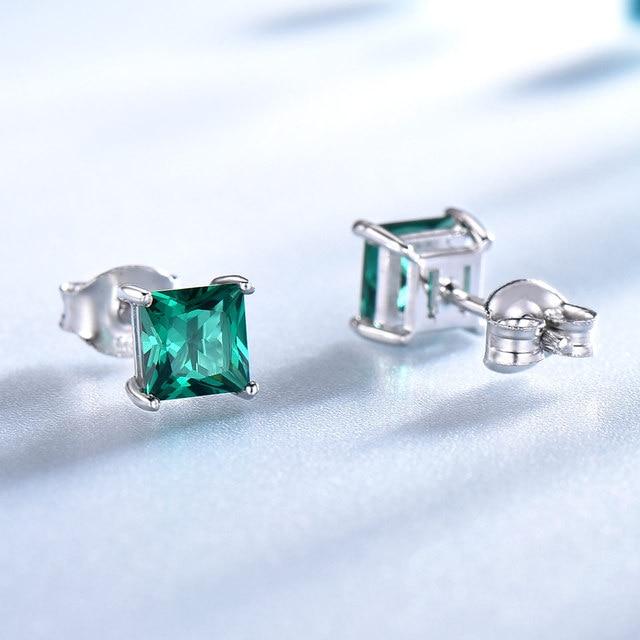 925 Sterling Silver Emerald Stud Earrings for Women 4