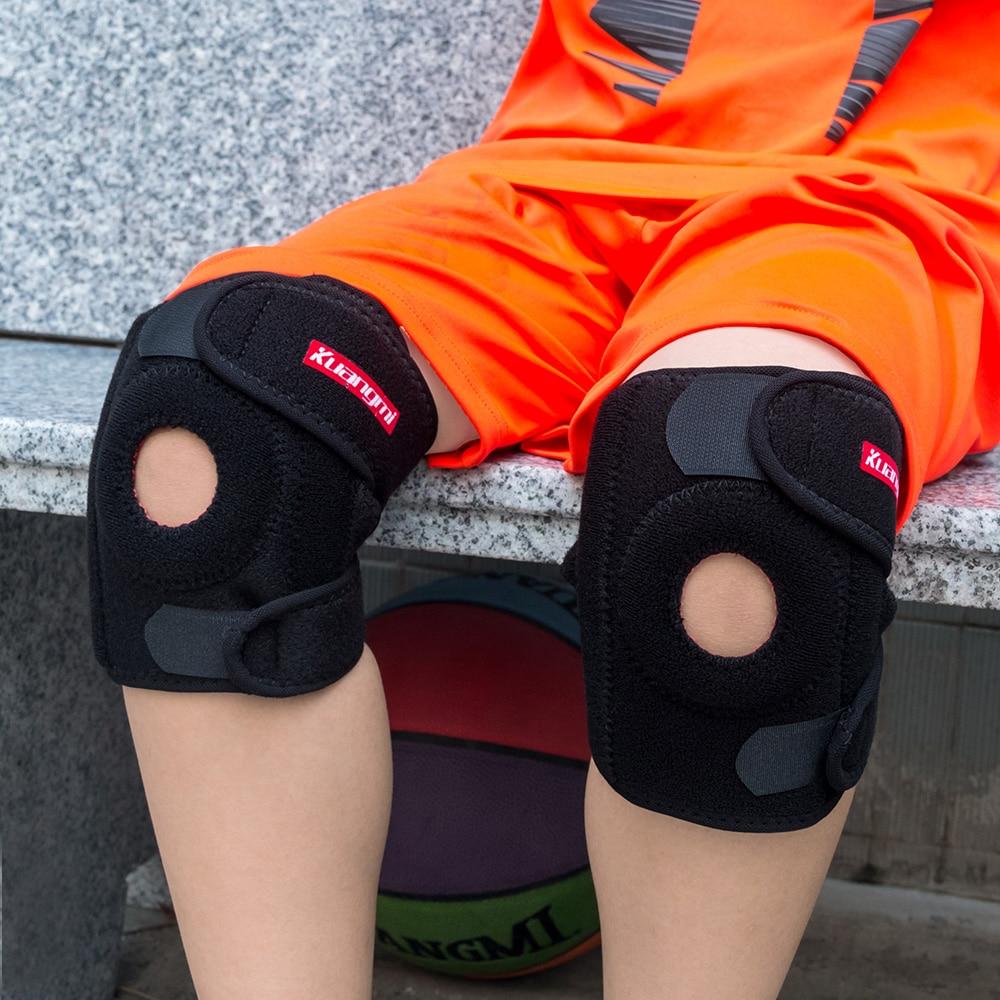 Kuangmi Kids Knee Brace Podpora Sportovní Crashproof Pad Basketbal Dětské Open Patella Protector Nastavitelný tlak 1 PC