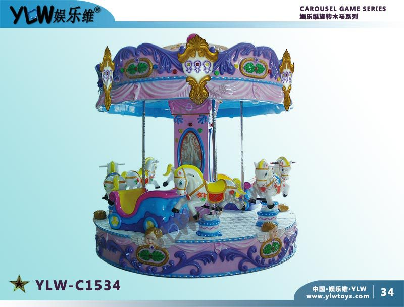 Amusement Kiddie Ride Lovely Coin Operated 6 Seat Carousel Children Merry Go Round For Parks