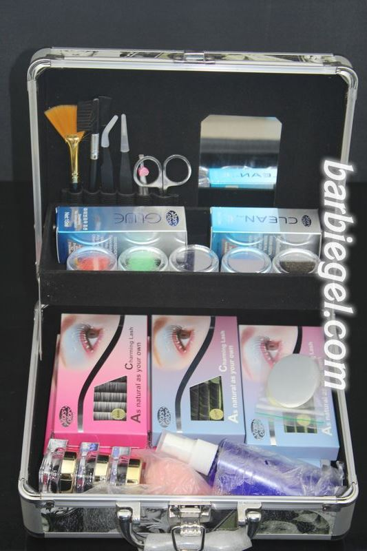 ФОТО 2014 New Professional High Quality False Extension Eyelash Glue Brush Kit Set with Box Case Salon Tool
