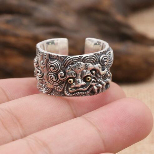Fait à la main 925 argent Pixiu symbole anneau Vintage Sterling Piyao symbole anneau Fengshui bonne chance anneau