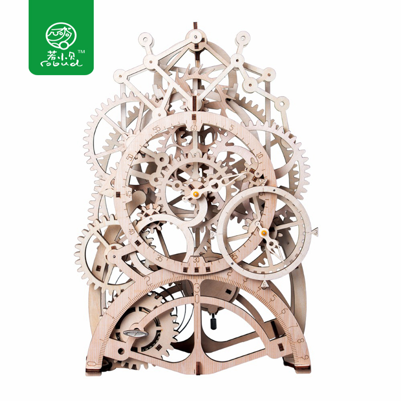 Robud Creative 4 Kinds DIY Movable Mechanical Model Building Kits by Clockwork Wooden Toys Gift for Children Teens Adults LK501