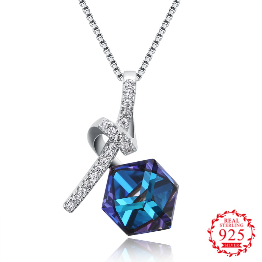 S925 Blue Crystal From Swarovsk Elements Diamond Shaped New Wedding Jewelry 925 Sterling Silver love Necklaces Pendants GiftS925 Blue Crystal From Swarovsk Elements Diamond Shaped New Wedding Jewelry 925 Sterling Silver love Necklaces Pendants Gift