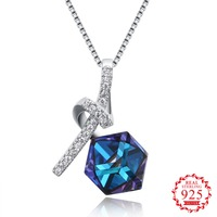 S925 Blue Crystal From Swarovsk Elements Diamond Shaped New Wedding Jewelry 925 Sterling Silver love Necklaces Pendants Gift