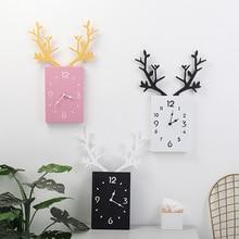 Nordic Antler Wall Clocks Cartoon Mute Kids Room Clock Decoration Nursery Baby Shower Gift Home Free Shipping
