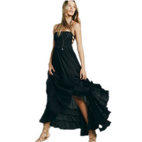 Boho Chic Halter Chiffon Long Dress Women Backless Maxi Dresses Vestidos Sexy Split Beach Summer Dress Beach Wear Girl