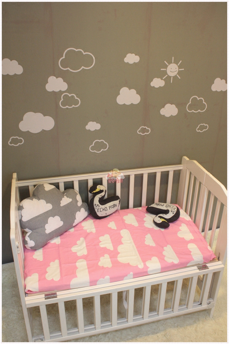 Baby bed sheet pattern - Aliexpress Com Buy 2016 New Black Pink Gray Colors Bedspread Cotton Cloud Pattern Bed Flat Sheet Newborn Baby Bed Sheets For Boys Girls Bedding Set From