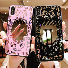 For Apple iPhone 7plus mobile phone cases ipone XS MAX XR X/6s/8 Plus Fashion Plating Mirror Flowerd Pattern Shell Cover