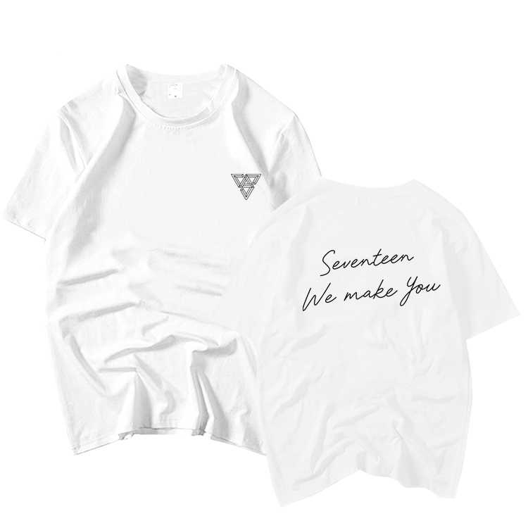 Kpop seventeen album we make you same printing o neck short sleeve t shirt  summer style unisex fans supportive loose t-shirt