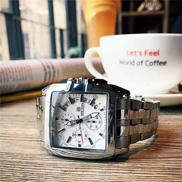 53536c137d48 Relojes cronógrafo de fecha para hombre MEGIR reloj de pulsera militar de  cuarzo impermeable de acero