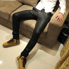 MIXCUBIC, весна-осень, мужские кожаные брюки с покрытием, облегающие, искусственная кожа, обтягивающие спортивные штаны, Яркие Кожаные джинсы, черные, размер 28-34