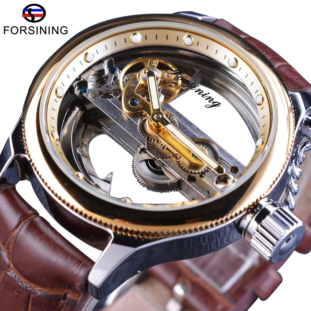 Forsining Transparent Brown Leather Belt Steampunk Classic Modern Design Mens Automatic Skeleton Wrist Watches Top Brand Luxury forsining brown leather belt golden bezel transparent case steampunk double sided hollow men automatic watches top brand luxury