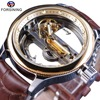 Forsining Transparent Brown Leather Belt Steampunk Classic Modern Design Mens Automatic Skeleton Wrist Watches Top Brand