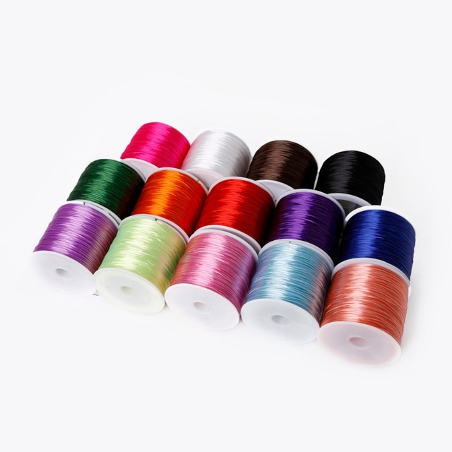 1Roll/60M  0.7mm Elastic Thread Round Crystal Line Nylon Rubber Stretchy Cord For Jewelry Making Beading Bracelet  14colors