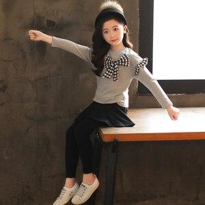 Image 3 - Комплект одежды для девочек, рубашка с бантом + леггинсы, осенний костюм из 2 предметов для девочек, зимняя детская одежда, повседневная одежда для девочек подростков 4, 6, 8, 12 лет